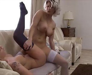 two hot blonde girlfriends tribbing in livingroom