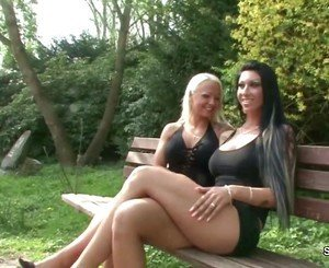 Two German Lesbian Teens Lick and Finger outside and Caught