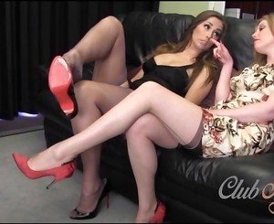 Horny lesbian babe licks nylon toes as Milf fingers pussy