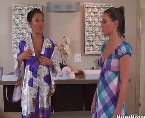 Asa Akira oiled during lesbian massage