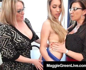 Teacher Maggie Green & Principal Sara Jay Fuck Bad Student!
