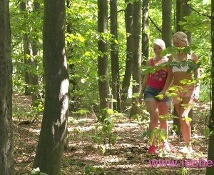 Lesbea Cute shaved blondes finger fuck outdoors and at home